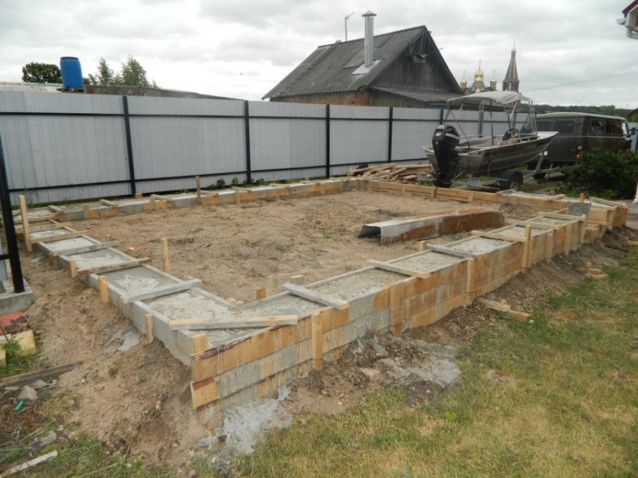 заливка фундамента гаража