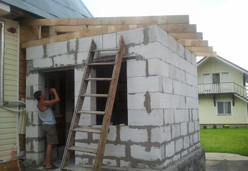 делаем пристройку к дому из блоков